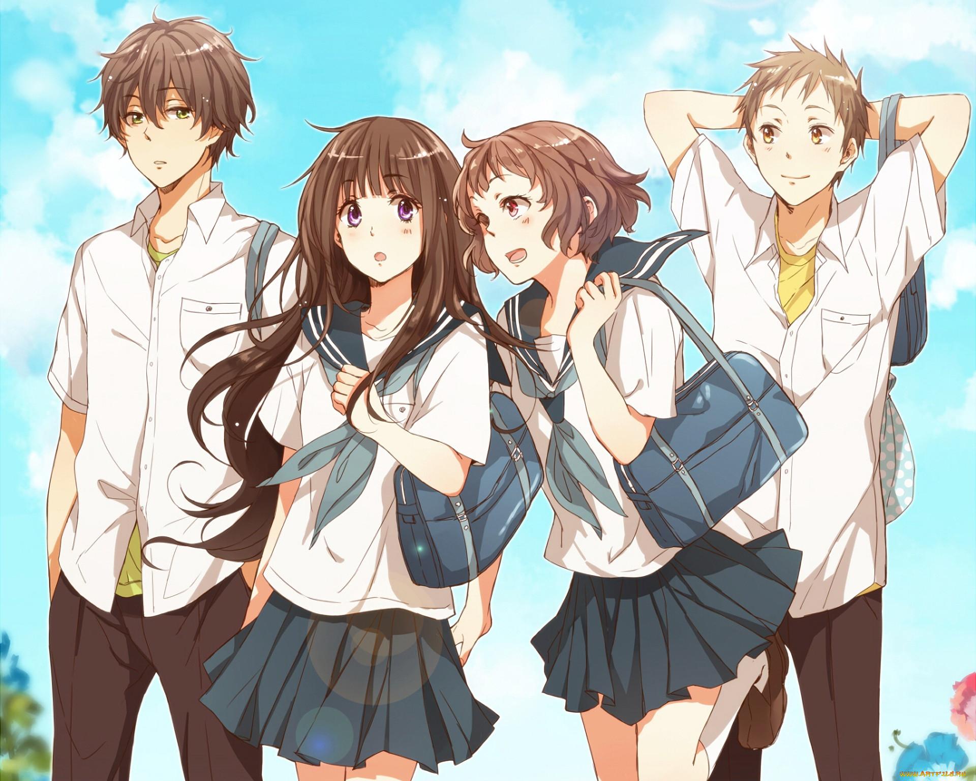 Две девочки аниме и мальчик